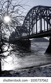 Metal bridge in winter