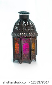 Metal bronze Lantern isolated on white background can be useful for ramadan wishes and greetings or for any decoration placement