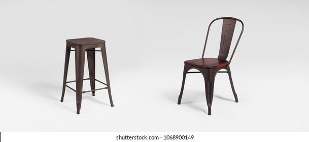 Metal brown kitchen chairs isolated on white background