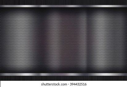 Metal brushed background, perforated metal texture for industrial design projects