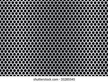 metal brushed background with punched holes and silver color