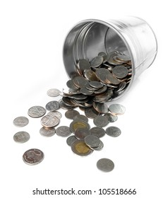 metal bucket full with coin isolate on white