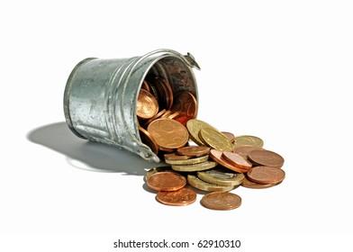 Metal bucket full with money