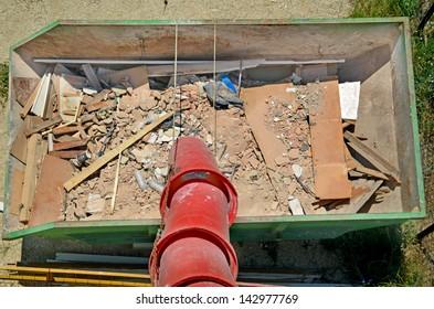 metal bucket inorganic materials rubble