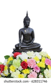 Metal Buddha statue with gyms on a flowers. Isolate white background.