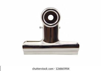 Metal bulldog clip isolate on white