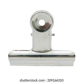 Metal bulldog clip  isolated on white background,  file includes a excellent clipping path