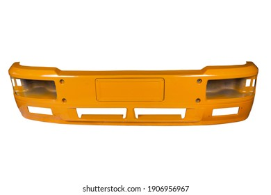 metal bumper of Chinese truck, orange color, isolated on white background