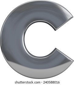 Metal C letter character isolated on white. Including clipping path. Part of complete alphabet set.