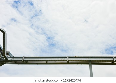 Metal cable tray for wire,cable, capper on blue sky background,ground.