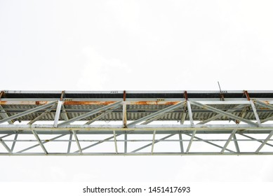 Metal cable tray for wire,cable, capper on white background,ground.