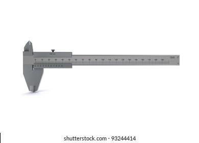 metal caliper pivoted to zero. 3D rendering