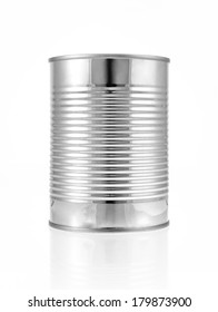 Metal can for preserved food on white background, clipping path inside.