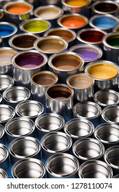Metal cans with color paint