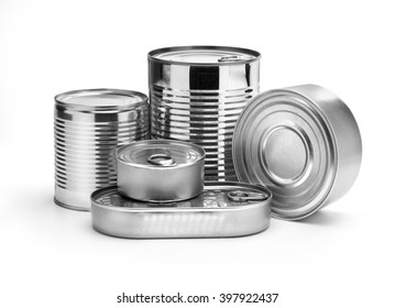metal cans on a white background.