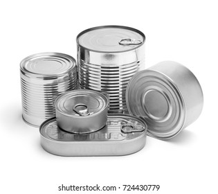 metal cans on a white background. paths stored