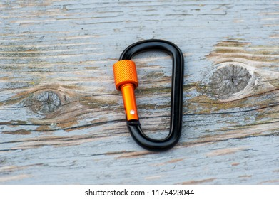 Metal carabine for mountaineering.  Photo of colored carabines.