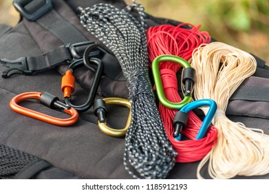 Metal carabine for mountaineering. Photo of colored carabines. Climbing concept