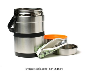 metal carrier tiffin on white background