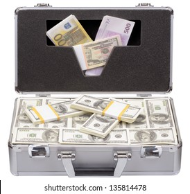 The metal case with dollars and euros isolated on a white background