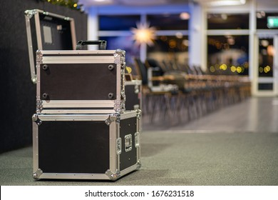 Metal cases as a transportation and storage of concert equipment.