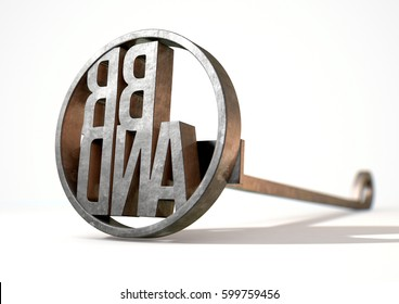 A metal cattle branding iron with the word brand as the marking area on an isolated white surface - 3D render