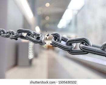 Metal chain broken break white background object
