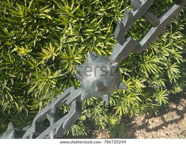 Metal Chain Link Fence Spikes Spiky Stock Photo (Edit Now) 786720244