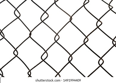 Metal chain links wire-mesh rabitz isolated on white background