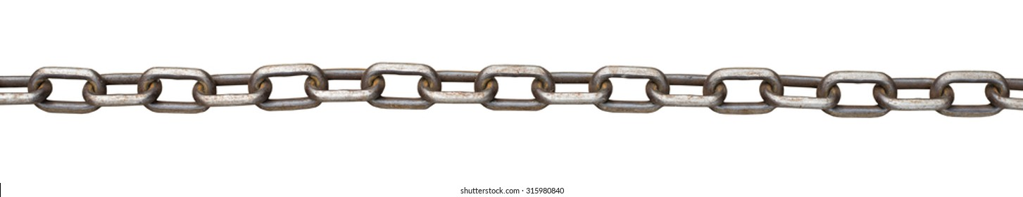Metal chain on isolated white background, close up view