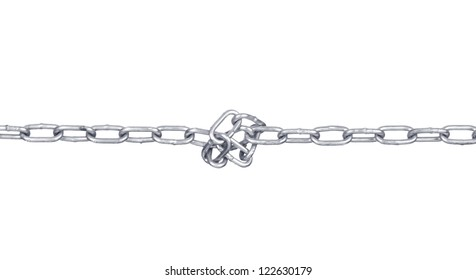 metal chain on white background with clipping path
