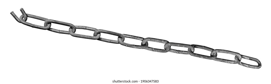 Metal chain with one torn broken link isolated on a white background