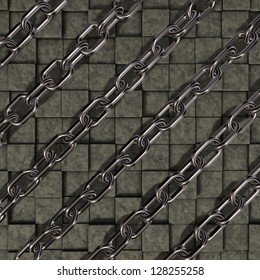 metal chains on stone cubes background - 3d illustration