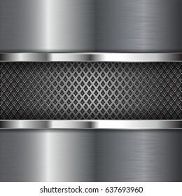 Metal chrome brushed background with perforation. Diamond shape holes. 3d illustration. Raster version