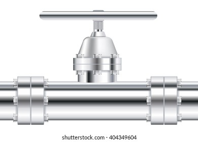 Metal chrome pipe with flange and valve. Illustration isolated on white background. Raster version