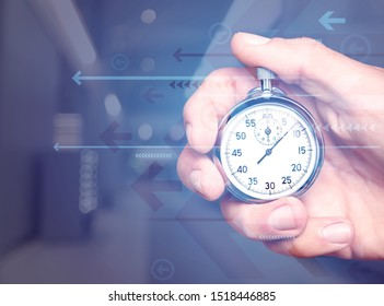 Metal classic Stopwatch in Human Hand