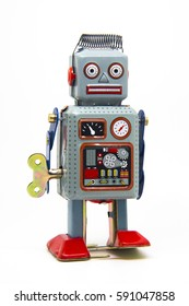 Metal Classic Vintage Robot in a white background