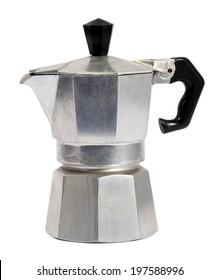 Metal coffee percolator for brewing Italian espresso coffee on a hot plate, wood stove or hob isolated on white