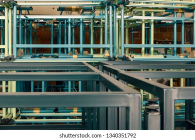 metal construction with pipes on stack, close up