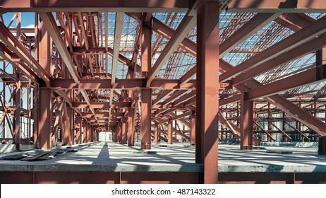 Metal construction. Stadium under construction.