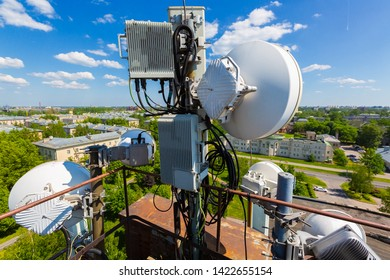 Metal construction for telecommunication data equipment or mast with microwave, radio panel antennas, outdoor remote radio units, power cables, coaxial cables, optic fibers. Outside part of