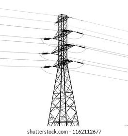 Metal construction tower with elctric wires
