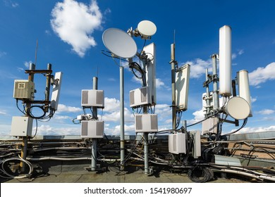 Metal constructions for telecommunication data equipment , radio panel antennas, outdoor remote radio units, power cables, coaxial cables, optic fibers are installed on the roof of building. Outside