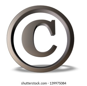 metal copyright symbol on white background - 3d illustration