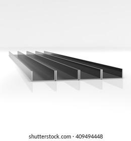 Metal corner beams of rectangular shape