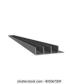 Metal corner beams at white background