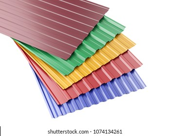 Metal corrugated roof sheets stack, with various colors. 3d illustration on a white background.