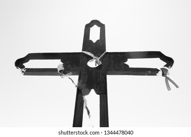 A metal cross on the summit of Cruz de Juanar in Spain