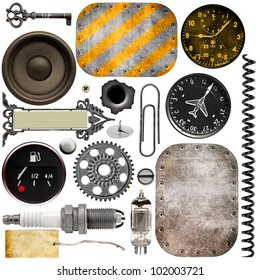 Metal details, car parts, metal plate and military instruments
