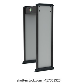 Metal detector scanner. 3D render isolated on white. Airport security gates with metal detectors. Walk through detector concept.
